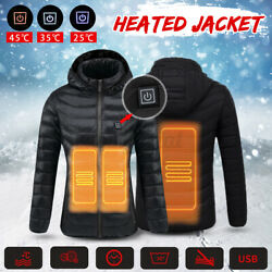 Us Women Winter Heating Warm Coat Usb Electric Heated Down Jacket Thermal Clothe