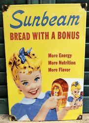 """Vintage Sunbeam Bread Porcelain Sign Usa """"bread With A Bonus"""" Grocery Ad"""