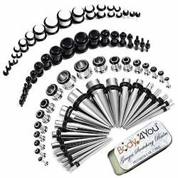 Bodyj4you 73pc Gauges Kit Ear Stretching Aftercare Balm 14g-00g Black White A...
