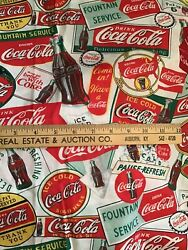Oop Coca Cola Labels Cotton Print Fabric By Vip Cranston Works 1 Yard