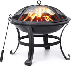 Bbq Grill Firepit Bowl With Mesh Spark Screen Cover 22and039and039 Fire Pits Outdoor Wood