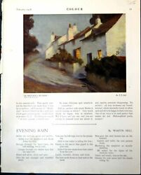 Antique Print Britains Riviera F Kell Houses Woman Ginger Hair D Tree 1918 20th