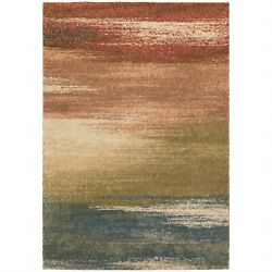 9' X 12' Pink Machine Woven Abstract Colors Indoor Area Rug
