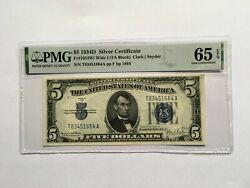 Silver Certificate 5 1934d Fr1654wi Wide I + Fr1654n Narrow 2 Notes Cons.