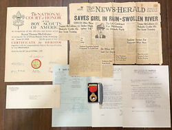Fantastic 1945 Gold Boy Scout Honor Award Lifesaving Medal With Documents