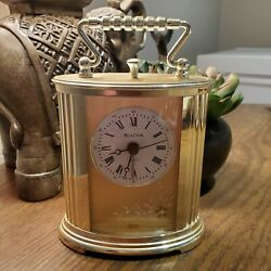 Vintage Gold Bulova clock made in Germany Alarm Etched Flowers