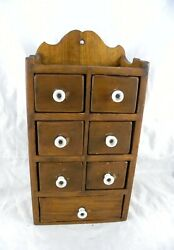 7 Drawer Vintage Primitive Wooden Spice Cabinet Box Cupboard Apothecary Chest