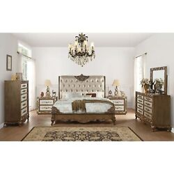 Acme Orianne Queen Bed Champagne Pu And Antique Gold Gold Queen