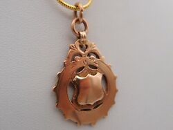 Edwardian 1912 Hm 9ct Rose Gold Fob Pendant For Watch Chain Not Engraved 8.5gms