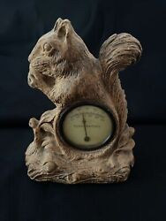 Vintage Ornawood Squirrel Thermometer Composite Made In Usa