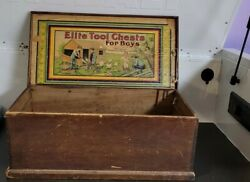 Antique Elite Wood Tool Chest For Boys Without Tools No 500