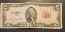 1953 Two 2 Dollar Bill United States Red Seal Note