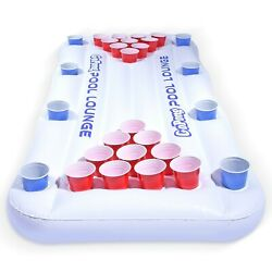 Pool Lounge Inflatable Beer GoPong 6#x27; Table with Floating for Summer Outdoor