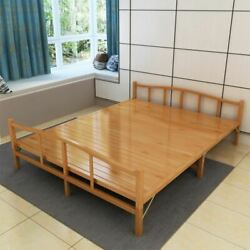 Foldable Wooden Bamboo Beds Brown Furniture For Bedroom Single Double Home Depot