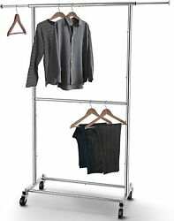 Double Rod Clothing Garment Rack Metal Rolling Hanging Clothes Organizer Chrome