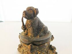 Antique Figural Inkwell With Dog Smoking A Pipe C. 1870 Andndash Early 1900andrsquos