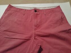 American Eagle Mens Shorts Size 36 Coral Red Flat Front