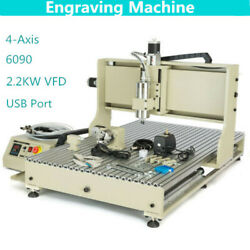 Usb Port 4axis 2.2kw 6090 Cnc Router Metal Engraver Milling Drilling Machine +rc
