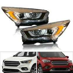 2017 2018 2019 Fits Ford Escape Headlights Headlamps Replacement Pair Left+right