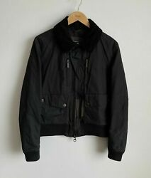Barbour Dept B Hunnam Menand039s S Black Waxed Wax Concealed Hood Bomber Jacket Rare