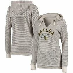 Baylor Bears Blue 84 Womenand039s Striped French Terry V-neck Hoodie - Cream