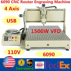 Usb 4 Axis 1500w Vfd Cnc 6090 Router Engraver Metal Wood Cutter Milling Machine