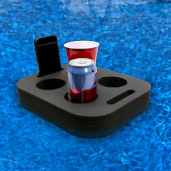 Floating Drink Cup Holder Pool Beach Black Red Foam 6 Compartment 12quot; x 10quot;