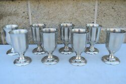 Set Of 8 Pewter Communion Cups, 'woodbury Pewter', 5 3/4 Ht. Cu832 Chalice Co