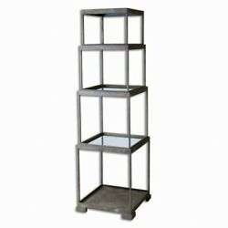Friedman - 71 Inch Etagere Rustic Bronze Finish With Antique Mirror Glass