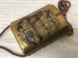 Y2743 Inrou Makie Lacquer Pill Box Japanese Antique Traditional Vintage