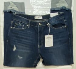 Kancan Womenand039s Relaxed Fit Classic Distressed Stewart Jeans Blue Size 11/29