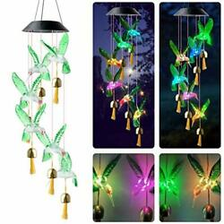 Qblahip Mothers Day Wind Chimes Solar Hummingbird Wind Chime With Bells Outdo...