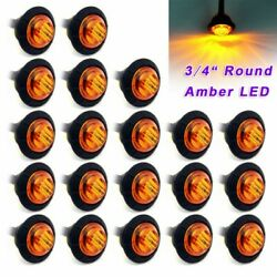 Remorque De Camion 3/4inches Round Amber Led Light Side Clearance Marker Lamps