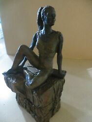 Art Bronze Statue Sculpture Lady In Bathing Suit With Book On Bricks And Rope 1992