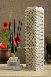 Marble Hand Carved Lattice Design Candle Holder And Incense Stand Bedroom Décor