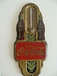 Vintage Drink Coca-cola Twin Bottle Advertising Original 1940and039s Thermometersign