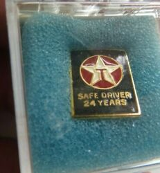 24 Years Texaco Gas And Oil Semi Driver Safe Driving Award Lapel Pin Gold Filled