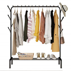 Drying Rack Heavy Duty Clothes Rail Metal Garment With Top Rod And Lower Storage