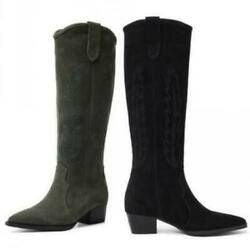34-44/46 Europe Womenand039s Cowboy Western Suede Fabric Punk Knee High Knight Boots