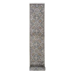 2and0396x20and0395 Wool And Silk Mughal Inspired Medallions Design Xl Runner Rug R66722