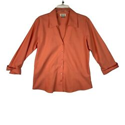 Coldwater Creek Womens 1x Salmon Shirt Long Sleeve V-neck Rolled Cuff Button Up