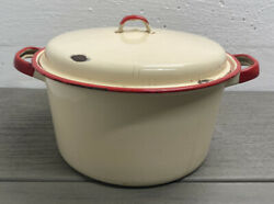 Vintage Enamel Ware Beige/cream With Red Trim Stock Pot W/lid Soup Stew Rare/htf