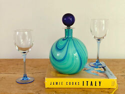 Vintage Carlo Moretti Round Blue Art Glass Decanter With Stopper | Hand Blown