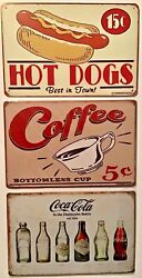 8x12 Tin Signs 3 Pc Set Hot Dogs Coffee Coca Cola Bottles Evolution Vintage Wall