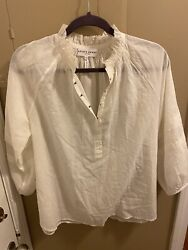Apiece Apart White Top With Hooks And Balloon Sleeves Size 2