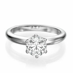 14k White Gold Round Enhanced Earth-mined Diamond Engagement Ring 2.00 Ct E-f/si