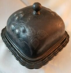 Antique Rogers And Bro Triple Plate 3286 Square Metal Covered Butter Dish Strawber