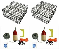 2-pack Of Kufa Vinyl Coated Crab Trap And Accessory Kit Including 100and039 Rope Cal...