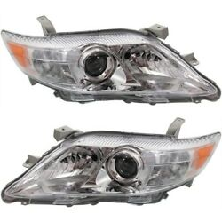 Headlight Set For 2010-2011 Toyota Camry Se Le Xle Left And Right Chrome Housing
