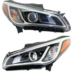 Headlight Set For 2015-2017 Hyundai Sonata Left And Right Hid With Bulb 2pc